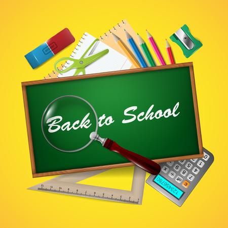 School supplants an a green chalkboard.
