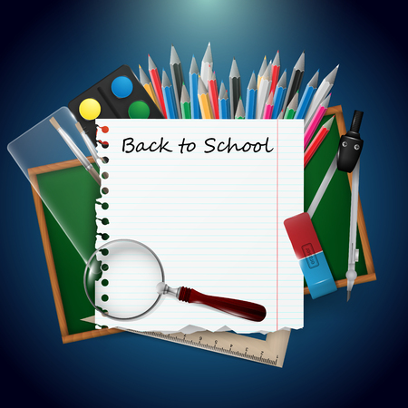 Back to school vector illustration with school supplies on blue background.