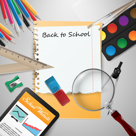 vector student: Digital tablet on students desk and school supplies