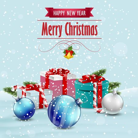 keywords background: Christmas card with presents and Christmas ornaments, vector background