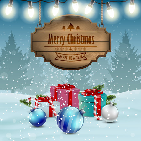 christmas candy: Christmas card winter background.