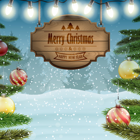 wooden board: Christmas card with a wooden board sing and Christmas decor.