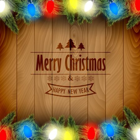 christmas tree branch: Christmas card with pine tree branches and color Christmas lights on a wooden board. Illustration