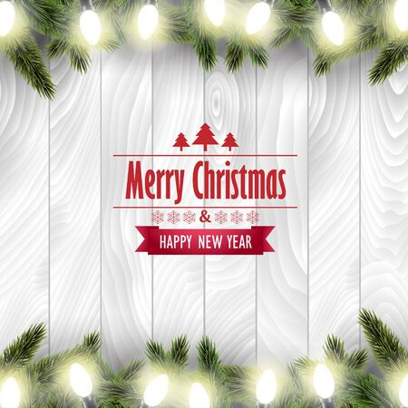 christmas lights: Christmas card with pine tree branches and Christmas lights on a white wooden board.