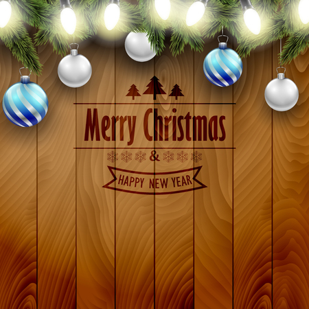 new yea: Christmas decoration on a wooden background, blue an silver Christmas ornaments.