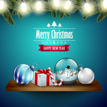 wooden shelf: Christmas decoration on a wooden shelf, blue background. Illustration