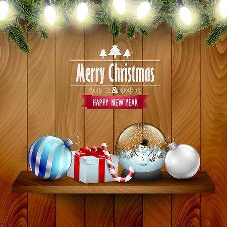 wooden shelf: Christmas ornaments and decoration on a wooden shelf, wooden background.