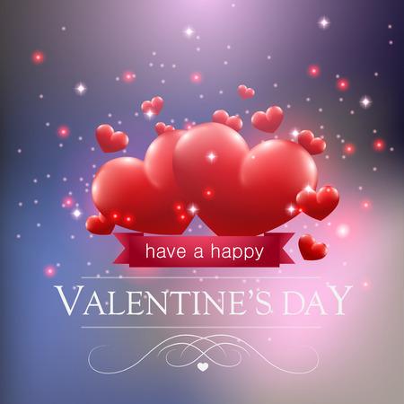 Valentines day card con cuori ans scintille su sfondo blu.