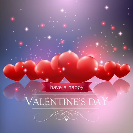 Valentines day card with hearts on blue background. Çizim