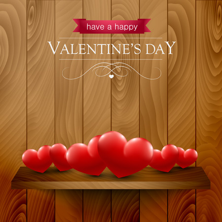 wooden shelf: Valentines day card with hearts on a wooden shelf. Illustration