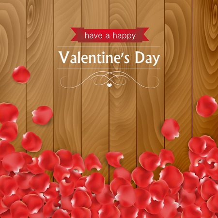 paddles: Valentines day card with rose paddles on a wooden background.