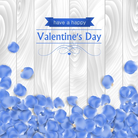 petal: Valentines day card with rose blue petal on a white wooden background.