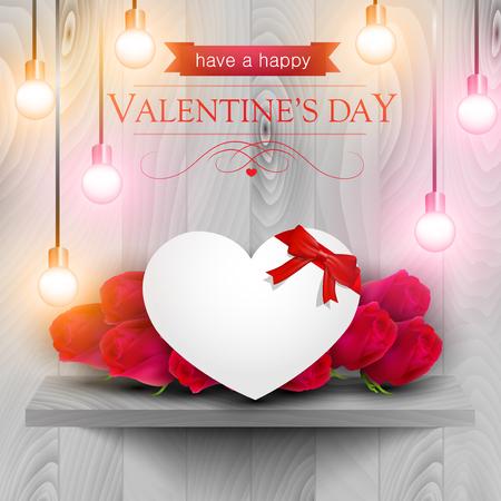 rosas rojas: Corazón de papel y rosas rojas en un estante de madera, tarjeta del día de San Valentín.