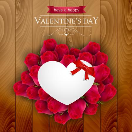rosas rojas: rosas rojas alrededor de un corazón de papel sobre un fondo de madera, tarjeta del día de San Valentín. Vectores