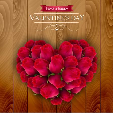 wedding bouquet: Roses arranged in a shape of a heart, on a wooden background. Illustration
