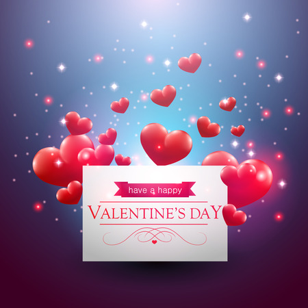 Valentines day card with hearts on a blue background.