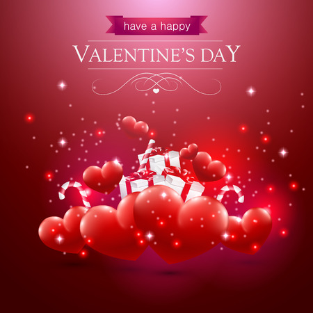 Valentines day card with hearts presents and sparkles on red background