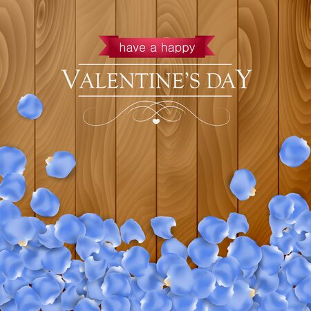 petal: Valentines day card with rose blue petal on a dark wooden background.