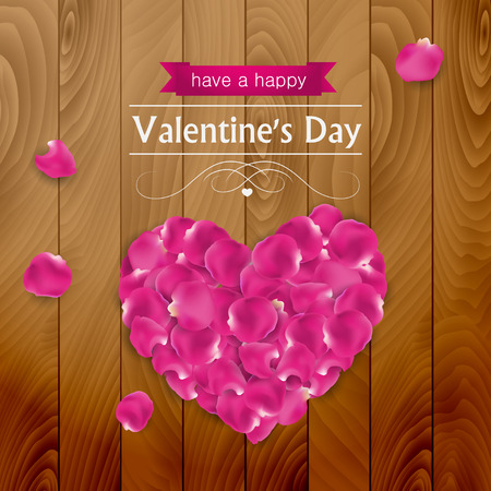 Valentines day card with pink rose pestles shaped like a heart on dark wood Illustration