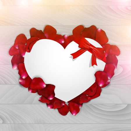 paper heart: Paper heart with rose petals on a wooden background, vector illustration. Illustration