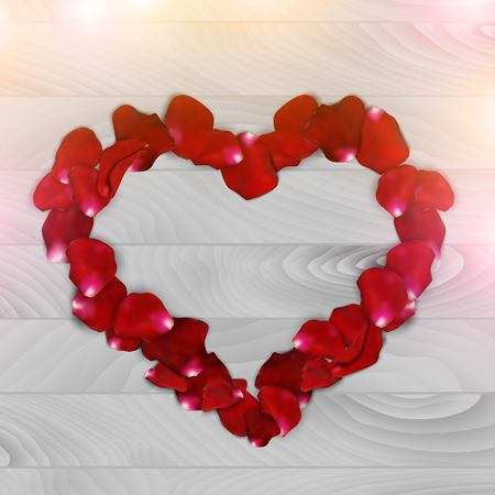 red shape: Vintage red rose petals in heart shape. on a white wooden background. Illustration