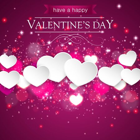 Happy Valentines day on pink blurred background with hearts. Vector illustration.