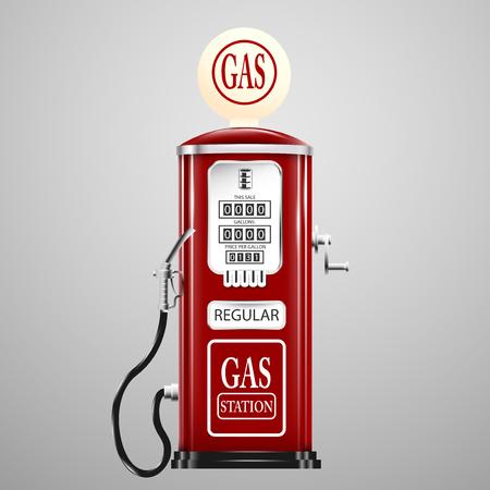 fuelling station: aislado rojo bomba de gas retro. Vectores