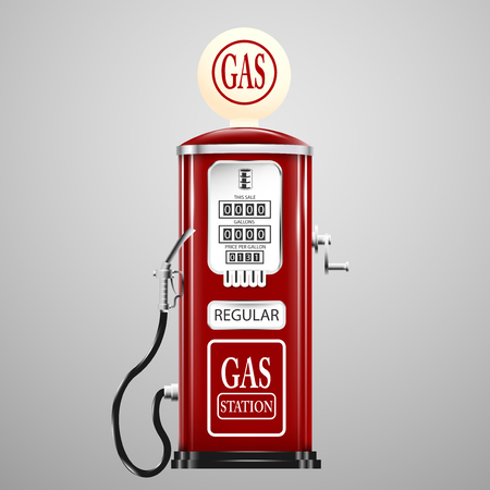 Rood geïsoleerd retro benzinepomp. Stockfoto - 50937983