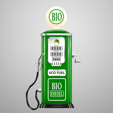 bio fuel: Eco fuel, vintage bio diesel pump. Illustration