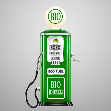diesel: Eco fuel, vintage bio diesel pump. Illustration