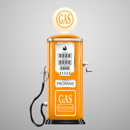 gas pump: Reg isolated retro gas pump. Illustration