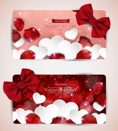 Valentines day cards with bow, paper hearts and rose petals, set of two.