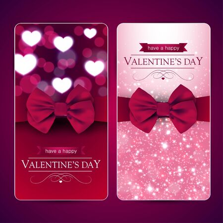 shiny hearts: Valentines day cards with bow, shiny hearts and sparkles, set of two. Illustration