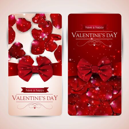 rose petals: Set of two valentines day cards with rose petals.