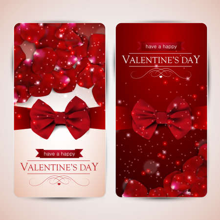 Set of two valentines day cards with rose petals.