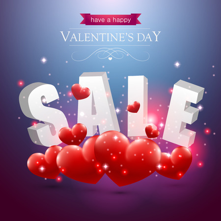 Valentines sale sign with red hearts on a blue background. Illustration