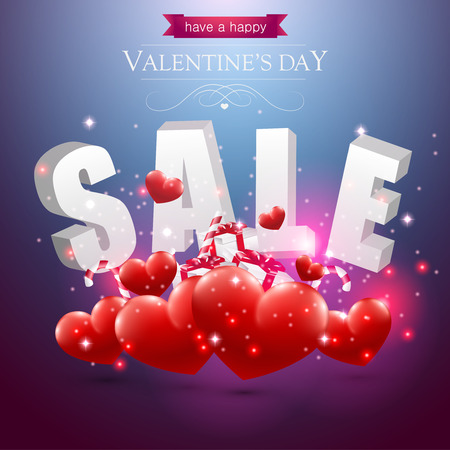 Valentines sale sign with red hearts presents and candy on a blue background.