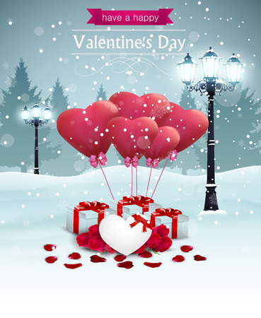 Beautiful Valentines day card width street lights heart shape balloons and presents, winter background. Illustration