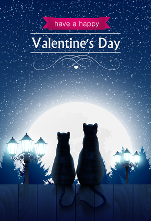 Two cats sitting on a fence looking at the fool moon, street lights, valentines day card.