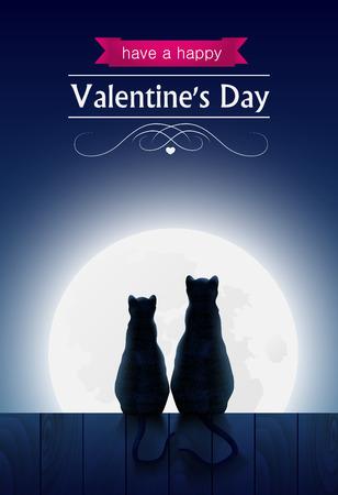parejas enamoradas: Dos gatos sentados cerca OA mirando a la luna del tonto y el bosque, tarjeta de San Valentín.