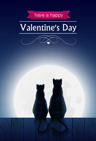 loving: Two cats sitting o a fence looking at the fool moon and forest, valentines day card.