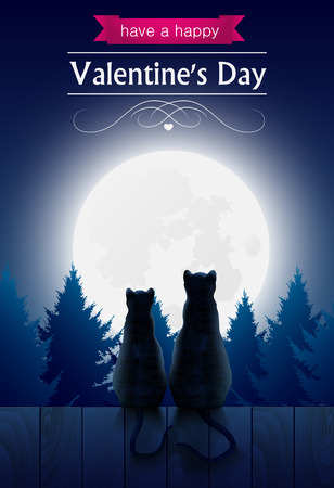 Two cats sitting o a fence looking at the fool moon, valentines day card.