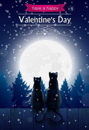 failing: Two cats sitting o a fence looking at the moon snow failing, valentines day card.