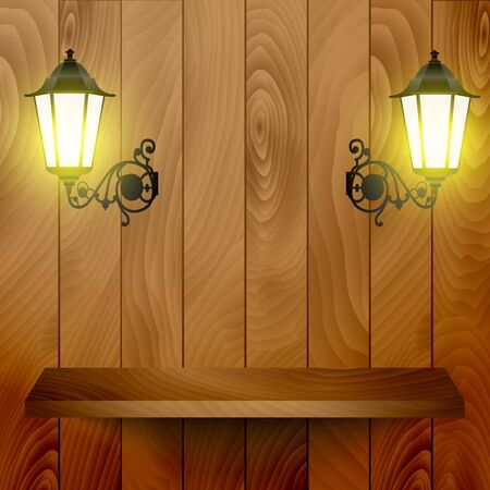 Empty wooden shelve on the wooden background with lanterns - vector illustration