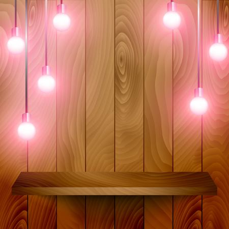 wooden shelf: Wooden shelf with a wooden background and some retro lamps hanging.