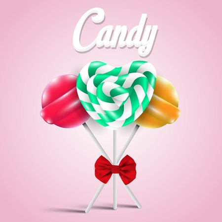 sugarplum: Set of different colored lollipops, vector illustration Illustration