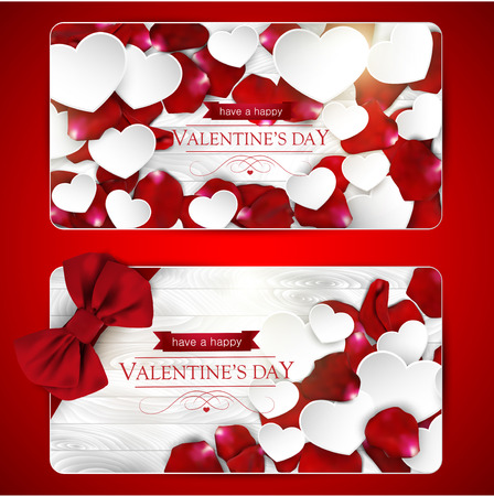valentine day: Valentines day cards with bow, paper hearts and rose petals on a white wooden background, set of tw