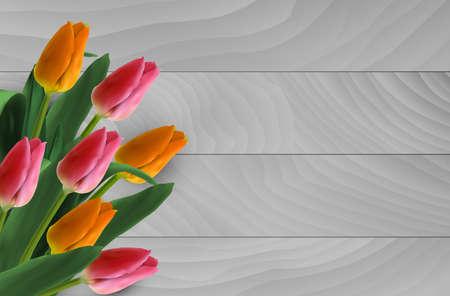 Tulips on wooden background Illustration