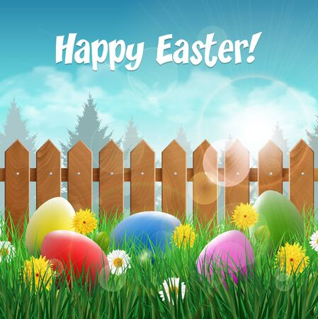 wooden fence: Easter card with Easter eggs on a grass field with flower wooden fence in the background.