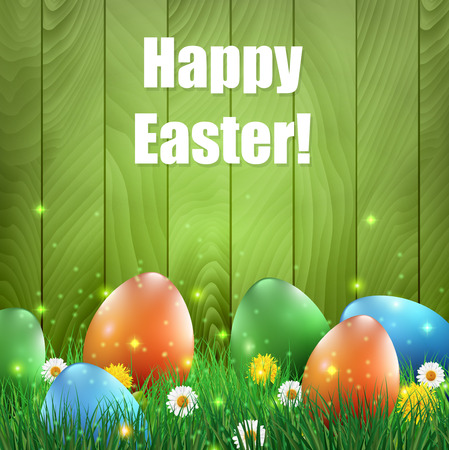 Easter eggs and grass with a green wooden background. Illustration